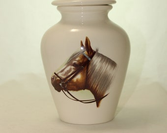 Horse Bust on Cremation Urn,  Small Jar with lid, Baby or Infant Urn, Small Pet Urn, Kitten urn. art pottery, handmade