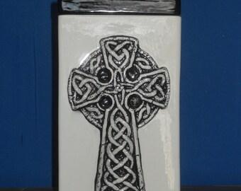 Celtic Knot Cross Black Cremation Urn, Ceramic Jar with Lid, Urn for Human Ashes, ,large urn, large jar, art pottery, Handmade Funeral Urn