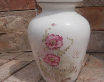White Urn with Rose colored Flowers.Ceramic jar with lid,urn, Jar with lid,Small urn, Small jar, art pottery, handmade