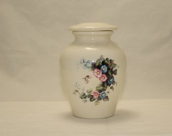 Hummingbird pink blue morning glory Ceramic jar with lid, Medium Cremation Urn, Dog or Pet Urn, art pottery, handmade