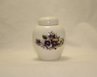 Cremation Urn, Purple Pansy Keepsake Urn, Infant Urn, Baby Urn, Small Jar with Lid, Tiny Urn, Small Pet Urn, Small Cat Urn, Art Pottery Urn
