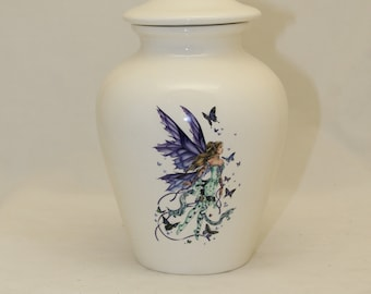 Purple Fairy Cremation Urn  Ceramic Jar with Lid, Medium Cremation Urn for Ashes, Child Urn, Pet Urn, Dog Urn, Art Pottery, Handmade Urn