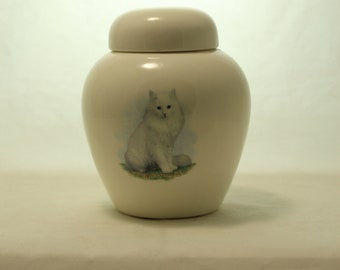 White Cat Cremation Urn, Ceramic Jar with Lid, Pet Cat or Dog Small Urn for Ashes, Keepsake Urn, Art Pottery, handmade