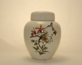 Yellow Orchids with Hummingbird Cremation Urn, Ceramic jar with lid, Jar with lid, large urn, large jar, adult urn. art pottery, handmade