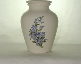 Forget Me Nots Cremation Urn  Ceramic Jar with Lid, Medium Cremation Urn for Ashes, Child Urn, Pet Urn, Dog Urn, Handmade Urn