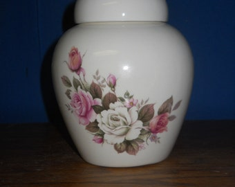 Ceramic jar with lid,urn,white and pink roses Jar with lid,Small Cremation urn,  jar, art pottery, handmade