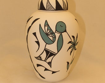 Native American Hummingbird Urn Ceramic Jar with Lid, Adult Cremation Urn. Large Cremation Urn, Large Urn for Ashes, Art Pottery, Handmade