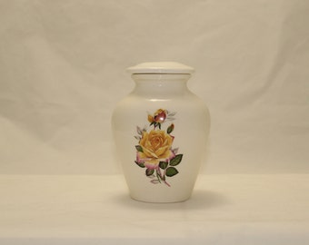 Ceramic Jar with Lid with Yellow Peace Rose Cremation Urn, Infant Baby Keepsake Urn for Ashes, Small Pet Urn, Cat Urn Art Pottery, handmade