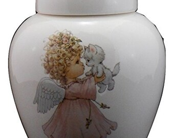 Angel Cremation Urn, Ceramic Jar with Lid, Infant Baby or Child Small Urn for Ashes, Keepsake Urn, Art Pottery, handmade