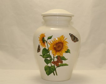 Sunflower with Butterfly Adult Cremation, Large Ceramic Jar with Lid, Human Ashes Urn, Large Cremation Urn, Handmade