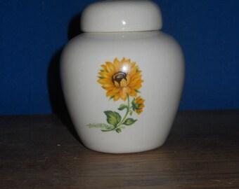 Ceramic Jar with Lid, Cremation Urn, Sunflower Urn, Small Pet Urn, Small Cat Urn, Jar with lid,Keepsake urn, Tiny jar, art pottery, handmade