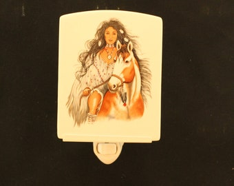 Porcelain Tile Night Light featuring a Maiden on Horse, Memorial Remembrance wall plug light