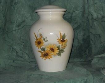 Sunflower Cremation Urn, Adult Cremation Urn, Ceramic jar with lid, Lidded Jar, large urn, large  jar, art pottery, handmade with sunflowers