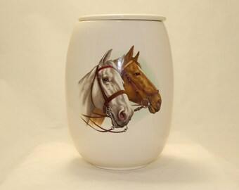 Adult Cremation Urn with Horse Heads, Urn, Ceramic Jar with Lid, Urn for Ashes, Large Pet Urn, Large Memorial Urn,  Art Pottery Handmade