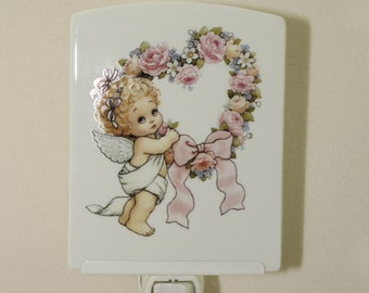 "Remembrance Memorial Night Light, Keepsake Porcelain Light, Baby Gift, Nursery Decor Light, Angel Night Light, 3.75"" x 4.5"""