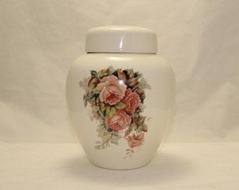 Cremation Urn, Peach Roses Ceramic Jar with Lid, Adult Cremation Urn, Large Ginger Jar, Human Ashes Urn, Art Pottery, Handmade Funeral Urn