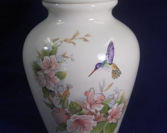 Pink Flowers with Hummingbird  Ceramic Jar with Lid, Cremation Urn, Medium Urn for Ashes, Pet Urn, Art Pottery, Handmade Urn