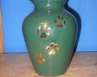 Dog Urn Medium Hunter Green with gold paws Ceramic Jar with Lid,Ashes Urn, Medium Cremation Urn,  jar, art pottery, handmade