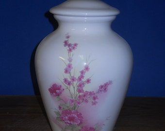 White Urn with Pink Flowers, Ceramic jar with lid,urn, Jar with lid,large urn, large jar, art pottery, handmade