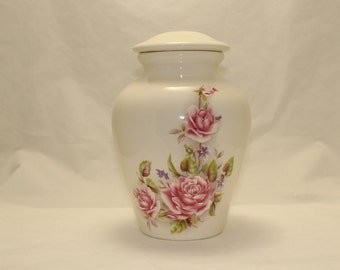 Pink Roses Adult Cremation Urn with lid,urn, Jar with lid. Large Cremation urn, large jar, art pottery, handmade