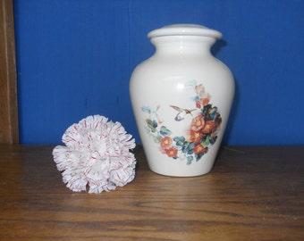 Hummingbird with Orange Trumpet Vine Ceramic Jar with Lid,,Cremation Urn,Pet Urn. Cat Urn,Small Urn, Small Jar, art pottery, handmade
