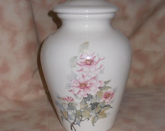Ceramic Jar with Lid, Pink Flowers Medium Cremation Urn, Pet Ashes Jar, Cat Urn, Dog Urn. Youth Urn, Art Pottery, Handmade Funeral Urn