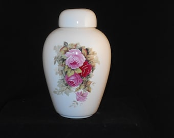Pink  Roses Adult Cremation Urn, Large Ceramic Jar with Lid, Large Urn for Human Ashes, art pottery, handmade
