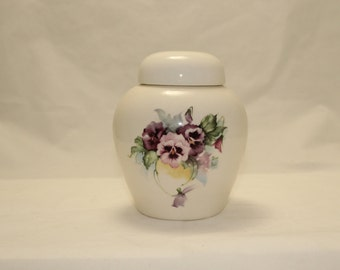 Pansy Cremation Urn, Ceramic Jar with Lid, Keepsake Cat Dog or Pet Urn, art pottery, handmade with purple flowers ashes container