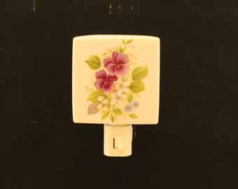 Purple Pansy Porcelain Night Light, Memorial Remembrance Nightlight, Wall Plug In Nightlight