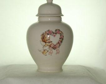 Angel Ceramic Jar with Lid, Baby or Infant Urn, Ashes Keepsake Urn, Tiny Pet Urn, Cat Urn, Small Dog Urn, Art Pottery, Handmade