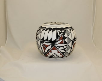 Native American Urn Ceramic Jar with Lid Adult Cremation Urn for Human Ashes, Hand Painted Art Pottery Memorial Urn
