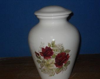 White Cremation Urn with Roses,Ceramic jar with lid,urn,large urn, large jar,Adult Urn. art pottery, handmade