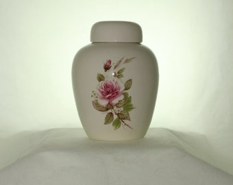 Pink Rose Ceramic Jar with Lid  Cremation Urn, Baby Urn, Keepsake Urn,  Pet Ashes Urn, Art Pottery, Handmade Urn