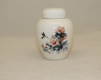 Hummingbird with Hibiscus Cremation Urn, Baby or Infant Urn, Small Pet Urn, Tiny Jar with lid, Keepsake urn, handmade