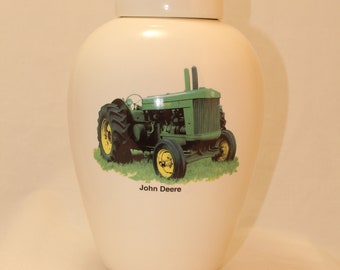 Tractor Ceramic Jar with Lid, Adult Cremation Urn, Large Pet Urn, Large Jar for Ashes, Art Pottery Funeral Urn, Handmade Cremation Urn