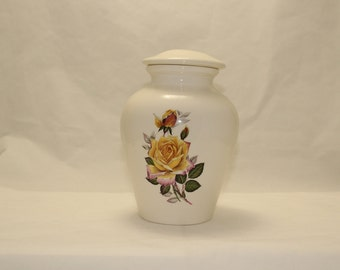 Ceramic Jar with Lid with Yellow Peace Rose Medium Cremation Urn,  Child Urn for Ashes, Medium Pet Urn, Art Pottery, Handmade Funeral Urn