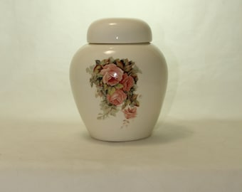 Peach Roses Cremation Urn, Ceramic Jar with Lid, Pet Cat or Dog Small Urn for Ashes, Keepsake Urn, Art Pottery, handmade