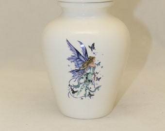 Cremation Urn with Fairy and Butterfly design, Jar with lid, Small Urn, Baby Urn, Infant Urn,Pet Urn,Kitten urn. art pottery, handmade