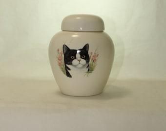 Cat Design Cremation Urn, Small Ceramic Jar with Lid, Pet Cat Small Urn for Ashes, Keepsake Urn, Art Pottery, handmade