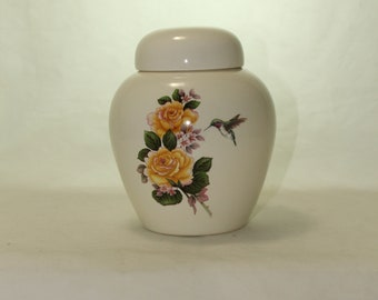 Yellow Roses with Hummingbird Cremation Urn, Ceramic Jar with Lid, Pet Cat or Dog Small Urn for Ashes, Art Pottery, handmade