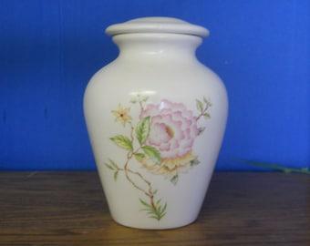 Ceramic Cremation Urn,Keepsake Urn,Pink Flower Jar with lid,Small urn, Small jar,Pet Urn, Cat Urn, Art Pottery,Handmade Urn for Ashes