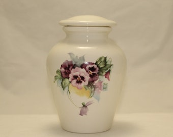 Ceramic Jar with Lid with Purple and Pink Pansy Small Cremation Urn, Small Pet Urn, Small Ashes Urn Art Pottery, Handmade  Funeral Urn