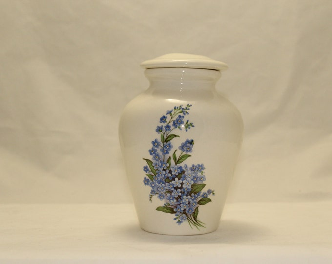 Featured listing image: Ceramic Jar with Lid Forget Me Nots Small Cremation Urn, Small jar, art pottery, handmade