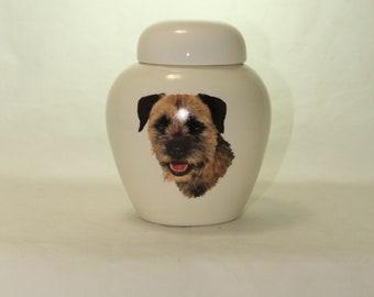 Border Terrier Cremation Urn, Ceramic Jar with Lid, Pet or Dog Small Urn for Ashes, Keepsake Urn, Art Pottery, handmade