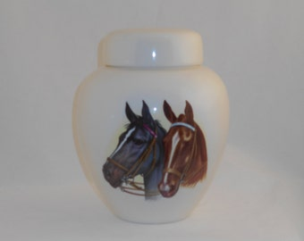Horses (1 black & 1 brown) on Ceramic Cremation Urn Jar with Lid, Adult Cremation Urn, Human Ashes, Art Pottery, Handmade Adult Urn