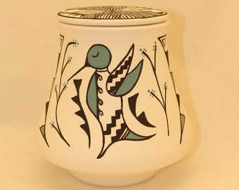 Native American Hummingbird Adult Urn for Human Ashes, art pottery, handmade