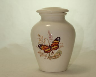 Orange and Yellow Butterfly Ceramic Jar with Lid, Small Cremation Urn, Keepsake Baby or Infant Urn, Cat Urn. Handmade small Pet Urn