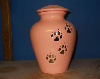 Large Peach  Ceramic jar with lid,urn, Jar with lid,large Dog urn, large jar, art pottery, handmade