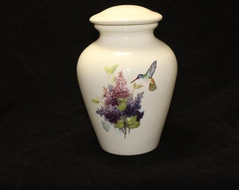 Purple and Pink Lilacs with Hummingbird Cremation Urn, Medium Ceramic Jar Lid, Urn for Ashes, art pottery, handmade