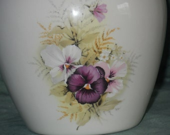 Ceramic Jar with Lid, Pansies on White Ceramic Cremation Urn, Small Cremation Urn, Baby or Small Child Urn, Pet Urn, Art Pottery, Handmade